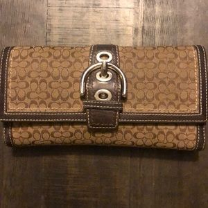 Coach brown canvas and leather wallet